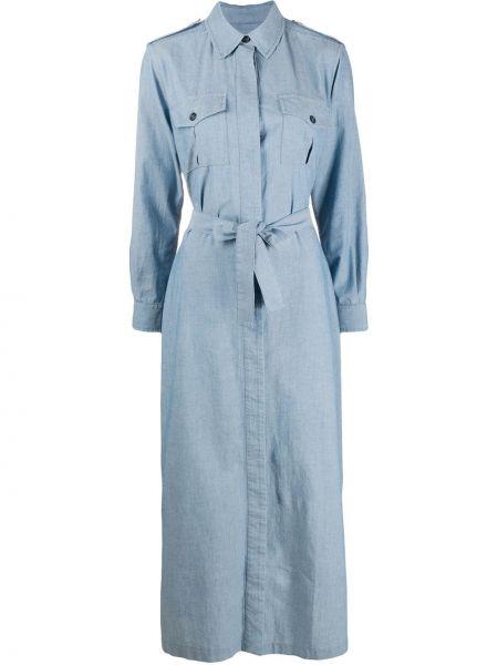 Niebieska sukienka długa z długimi rękawami z paskiem Forte Dei Marmi Couture