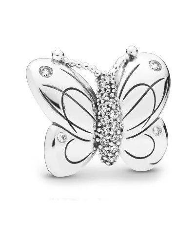 С цирконием серебряный браслет металлический Pandora