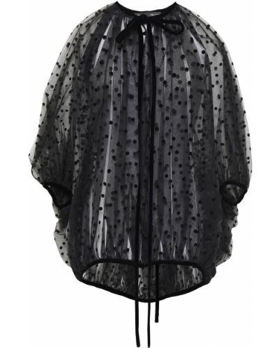 Облегченная черная блузка из вискозы Oscar De La Renta