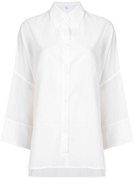 Хлопковая с рукавами белая классическая рубашка Y`s