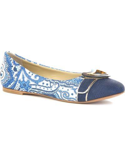 Синие балетки кожаные Etro