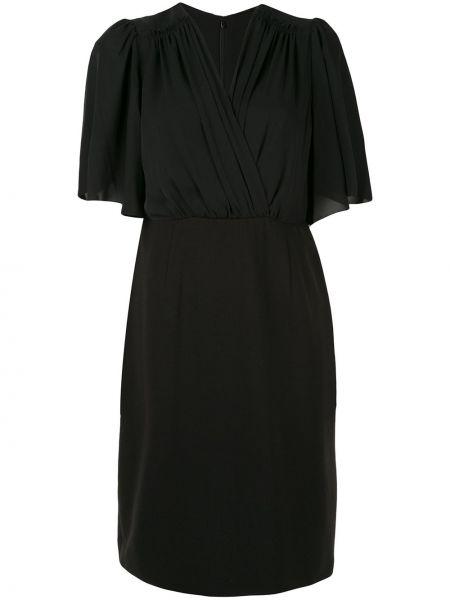 Czarna sukienka mini kopertowa z dekoltem w serek Elie Tahari