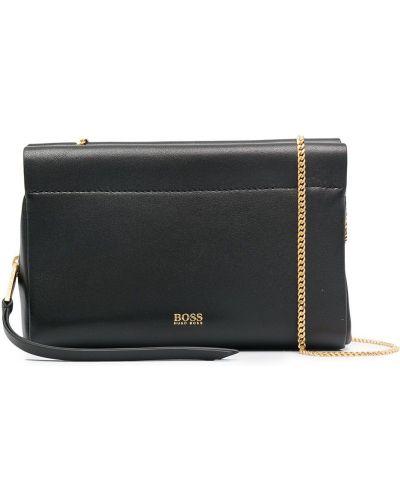 С ремешком черная кожаная сумка через плечо Boss Hugo Boss
