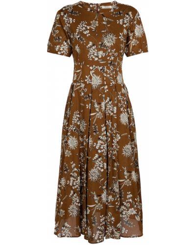 Хлопковое платье миди - коричневое 's Max Mara