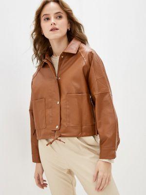 Коричневая кожаная кожаная куртка Softy