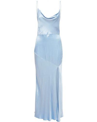 Niebieska satynowa sukienka midi Bec & Bridge