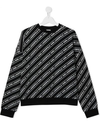 Прямая черная толстовка с вырезом в рубчик Karl Lagerfeld Kids