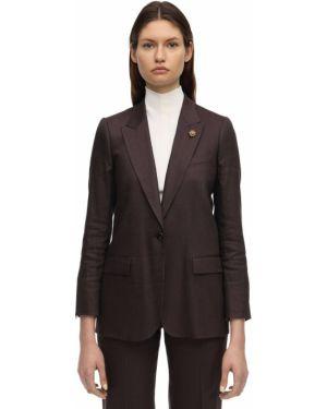 Льняной коричневый пиджак с карманами Lardini