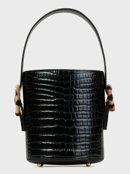 Кожаная лаковая черная кожаная сумка Les Petits Joueurs