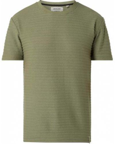 Zielona t-shirt bawełniana w paski Anerkjendt