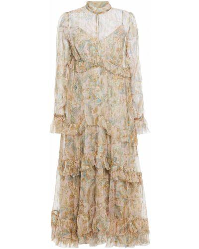 Розовое шелковое платье миди Zimmermann
