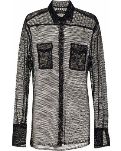 Черная классическая рубашка с воротником на пуговицах David Koma