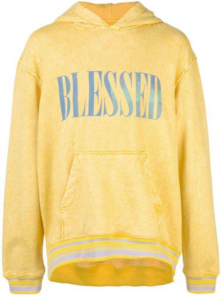 Żółta bluza z kapturem bawełniana Alchemist