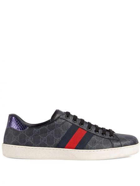 Brezentowy czarny skórzane sneakersy zabytkowe Gucci