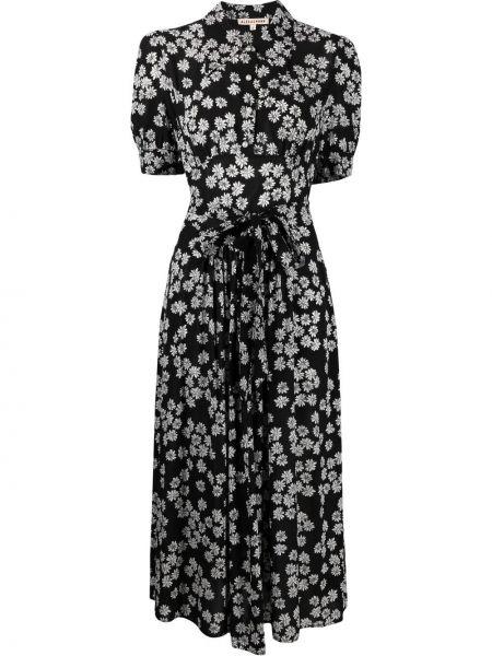 Черное платье миди с короткими рукавами с воротником Alexa Chung