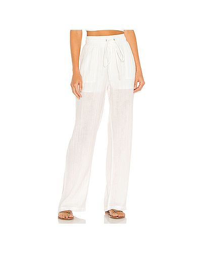 Хлопковые белые брюки на резинке David Lerner