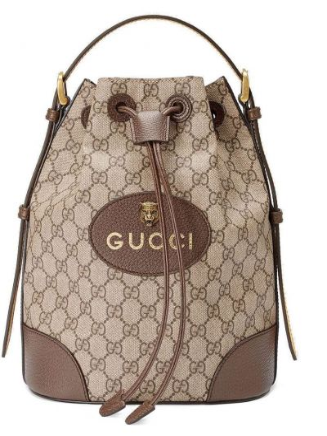 Skórzany plecak zasznurować żółty Gucci