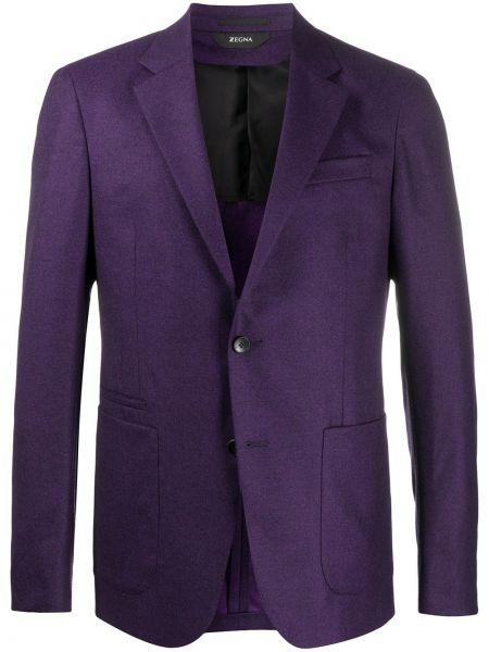 Шерстяной однобортный удлиненный пиджак с карманами Z Zegna