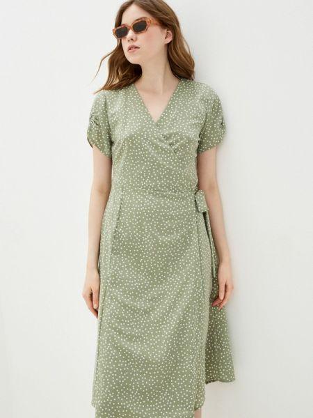Платье с запахом зеленый Sela