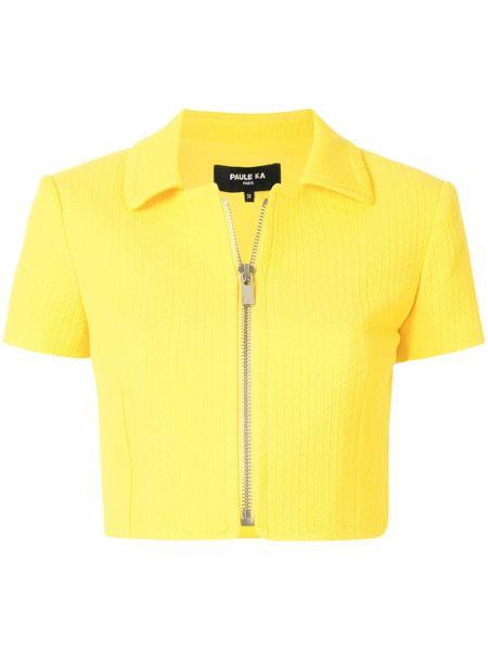 Желтый короткая куртка с короткими рукавами с воротником Paule Ka