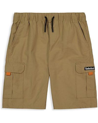 Хлопковые шорты карго с карманами хаки Timberland