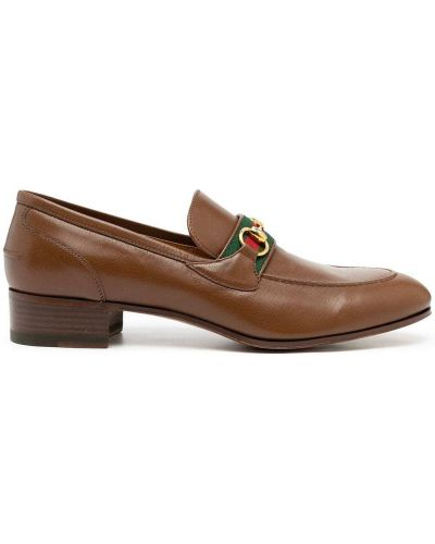 Loafers na obcasie - brązowe Gucci