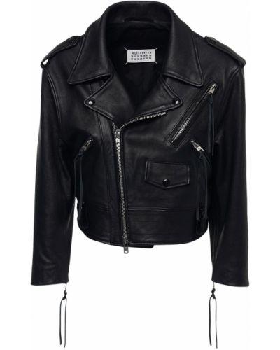 Укороченная кожаная куртка - черный Maison Margiela