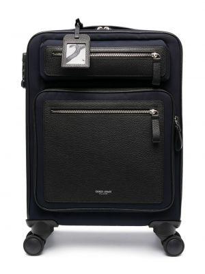 Czarna walizka skórzana Giorgio Armani