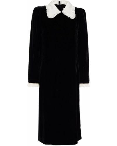 Бархатное платье миди - черное Paul & Joe