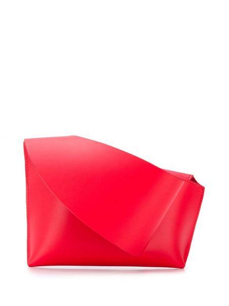 Кожаная асимметричная с ремешком красная кожаная сумка Venczel