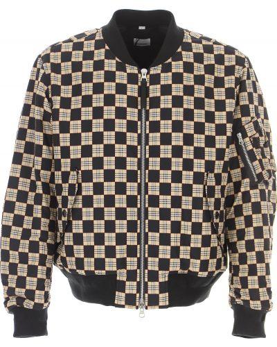 Z rękawami bawełna czarny zimowa kurtka z kieszeniami Burberry
