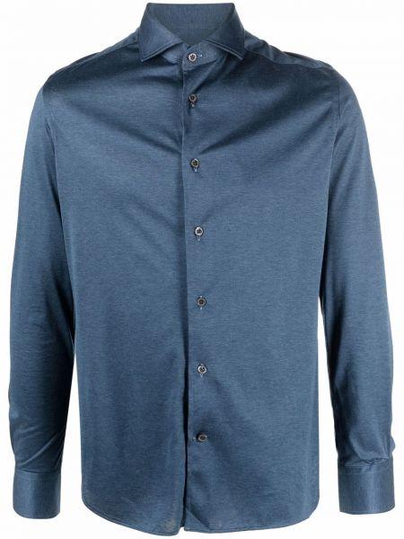 Синяя рубашка с манжетами Corneliani