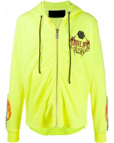 Bluza z kapturem z kapturem żółty Philipp Plein