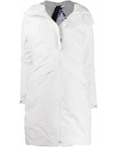 Пуховое коралловое длинное пальто с капюшоном Mammut Delta X