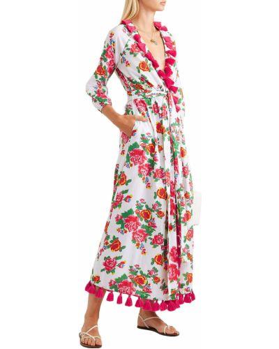 Biała sukienka długa kopertowa z paskiem Rhode