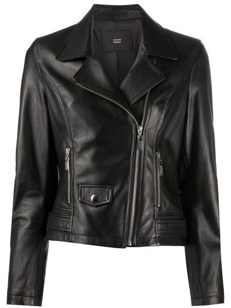 Черная кожаная куртка байкерская Steffen Schraut