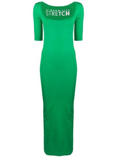 Z rękawami zielony sukienka mini plac Simon Miller