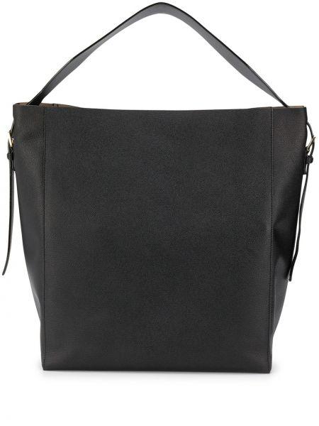 Кожаная черная кожаная сумка с карманами Valextra