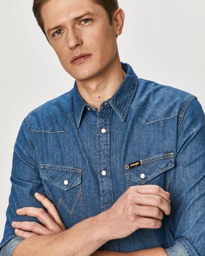 Niebieska koszula jeansowa bawełniana z długimi rękawami Wrangler