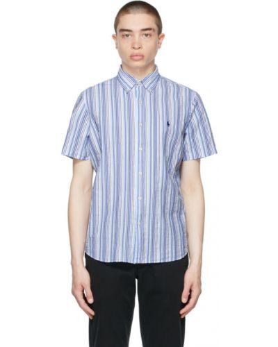 Белая классическая рубашка с короткими рукавами в полоску Polo Ralph Lauren