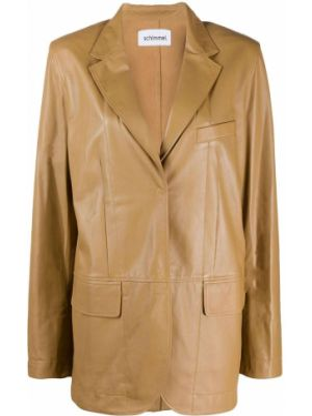 Коричневый кожаный пиджак с карманами Sylvie Schimmel