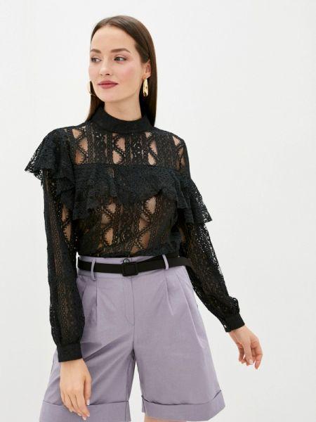 Блузка с рюшами черная Sweewe