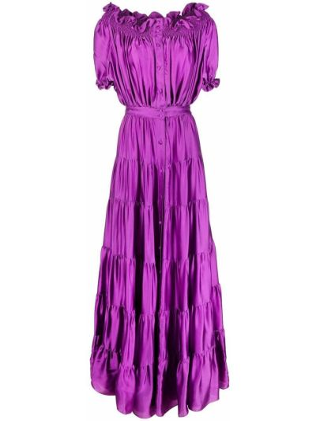 Фиолетовое открытое шелковое вечернее платье Amen.