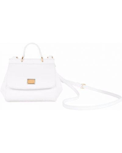 Biała torba na ramię skórzana Dolce & Gabbana Kids