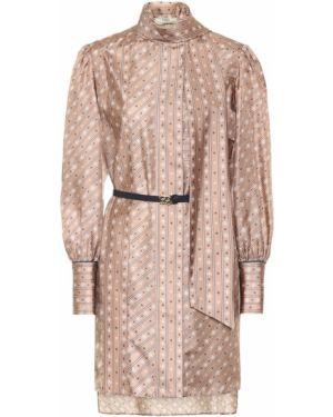 Платье мини шелковое с принтом Fendi