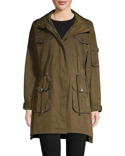 Зеленое длинное пальто с капюшоном с воротником Karl Lagerfeld Paris