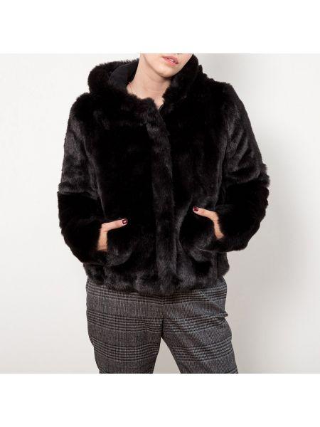 Черная куртка с капюшоном из искусственного меха с капюшоном Le Temps Des Cerises