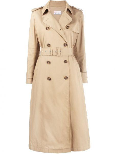 Beżowy płaszcz bawełniany z długimi rękawami Redvalentino