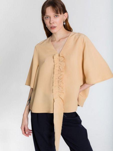 Бежевая блузка с длинным рукавом Белка