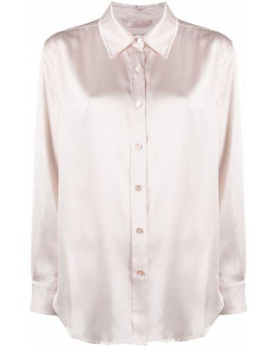 Розовая шелковая классическая рубашка с длинными рукавами Lautre Chose